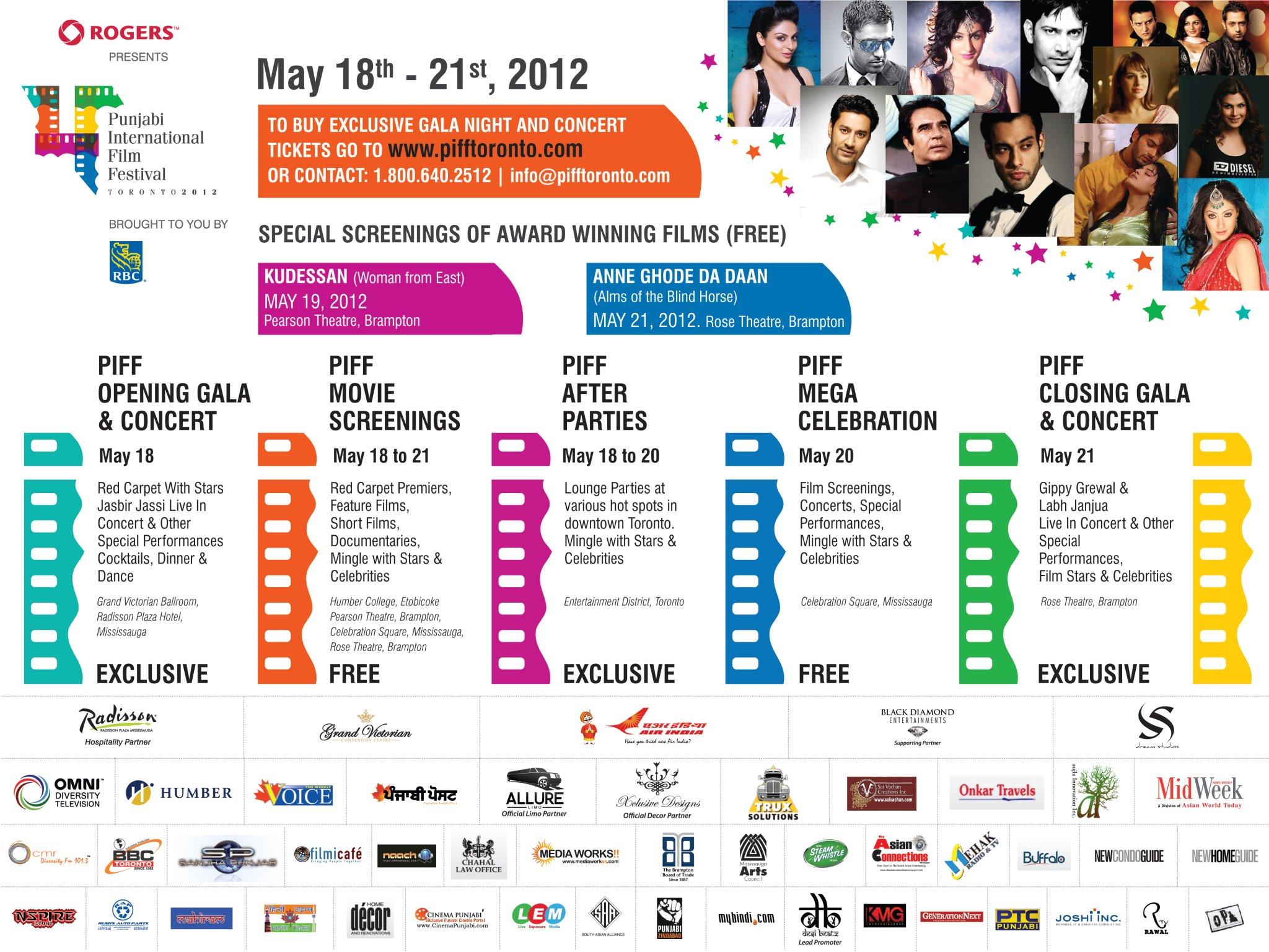 PIFF Sponsors & Schedule 2012